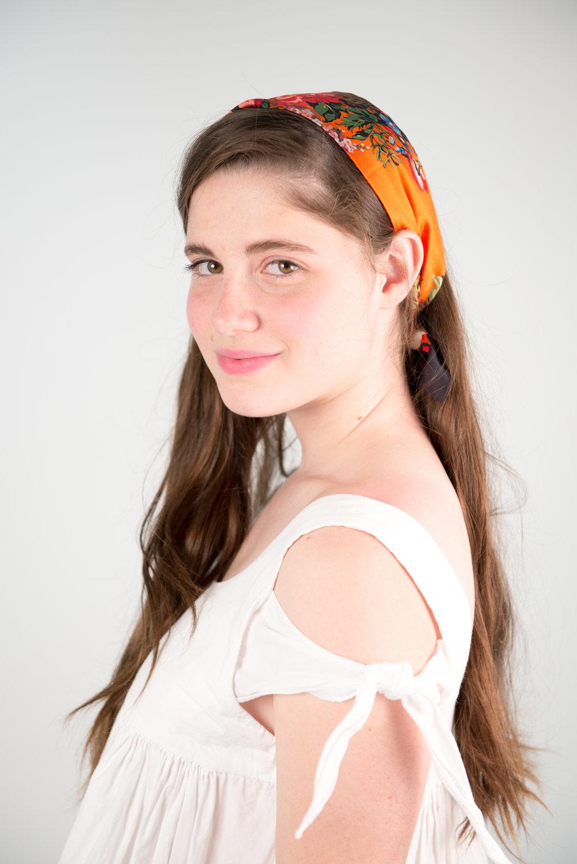 On Daisy: Zara babydoll dress, thrifted vintage head scarf