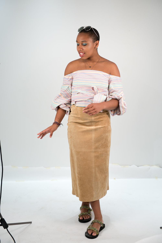 On Jamaica: Nicholas top, vintage leather skirt, Teva's
