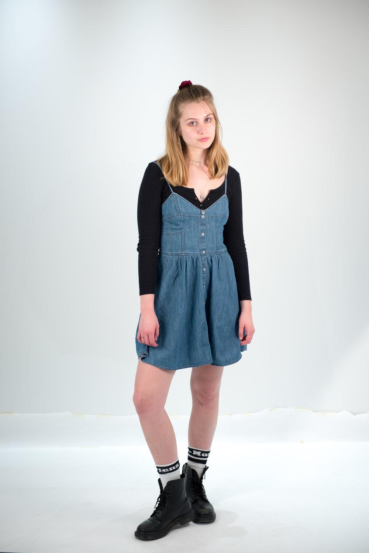 On Ellise: American apparel shirt, Denim dress from Target, Doc Marten socks & boots