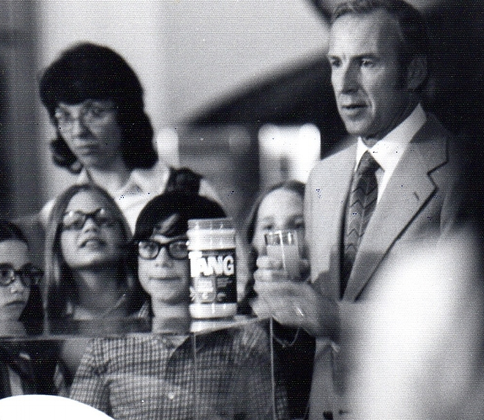 1976 - Adam (center) in a commercial for Tang, with Apollo 13 Commander Jim Lovell (right).