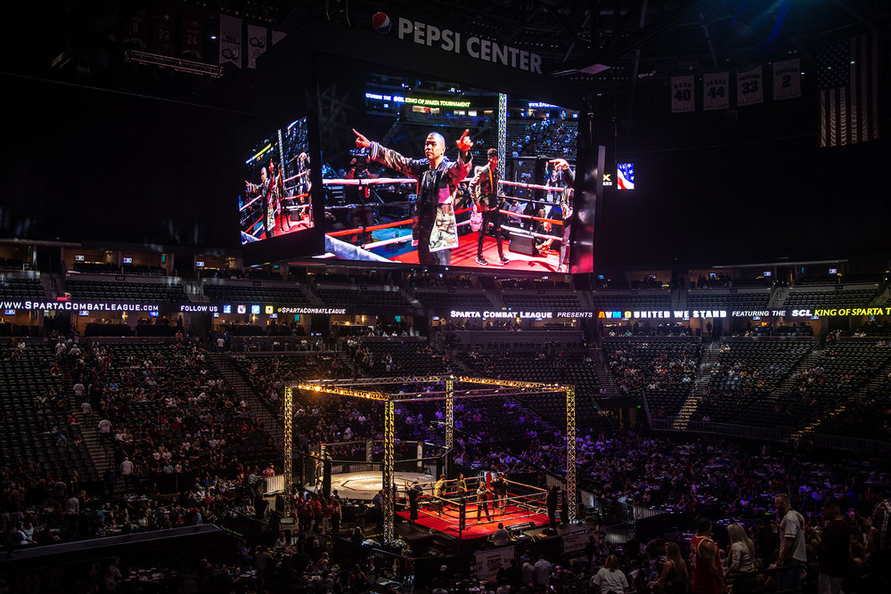 Seeing us up there on the Jumbo Tron was such an exciting feeling! To think, just less than a year ago, I came back to music and performed in a bar with less than 40 people... and here I am, nine months later, doing the half time show for Sparta Combat League's AVM9 at the Pepsi Center!!!!