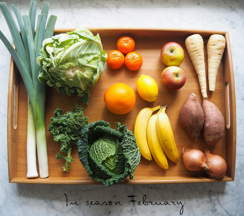 In season for February: leeks, cauliflower, kale, cabbage, tangerine, apple, orange, lemon, banana, parsnip, sweet potato, onion