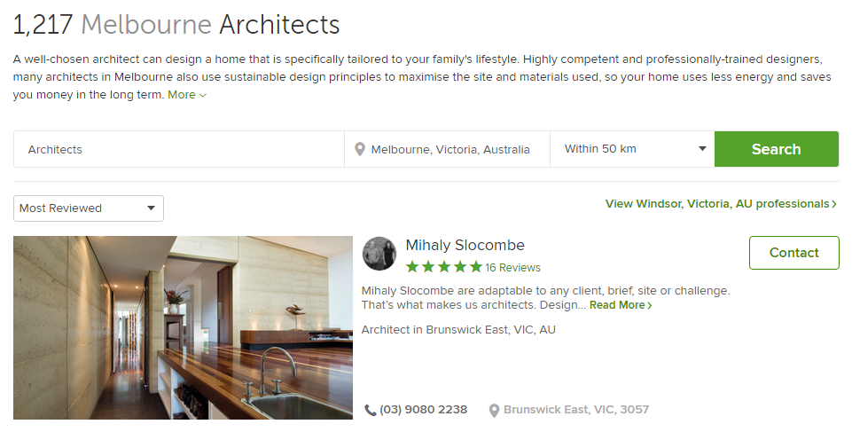 Mihaly Slocombe, the most reviewed architect in Melbourne, has just 16 positive reviews.
