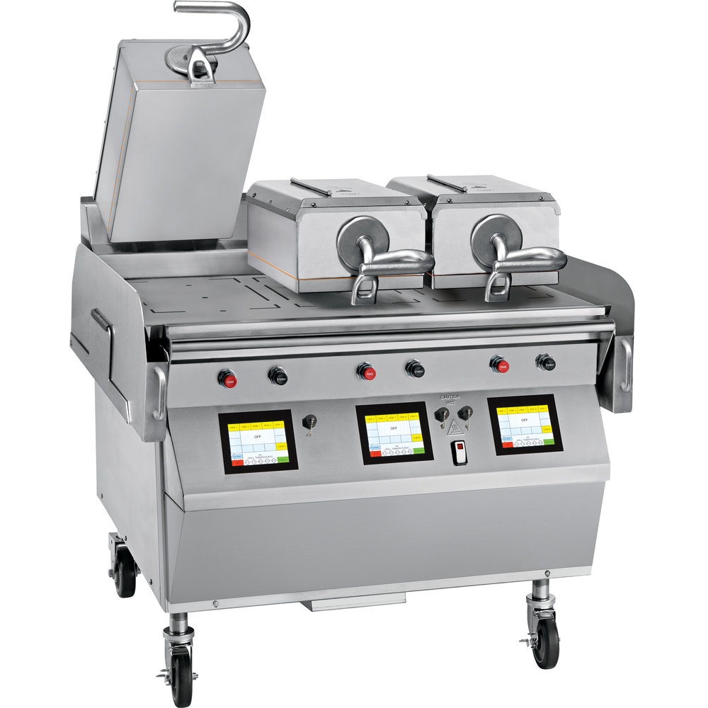"Model L810   Electric 3 Platen 36"" Grill  One touch menu selection automatically provides accurate TIME, TEMPERATURE and GAP settings for every product.  KEY SPECIFICATIONS:   Lower Cooking Surface Heat Source : Electric   Upper Platen Heat Source : Electric   Cooking Surface Dimensions : 36""   Installation : Floor Model   Upper Platens : 3"