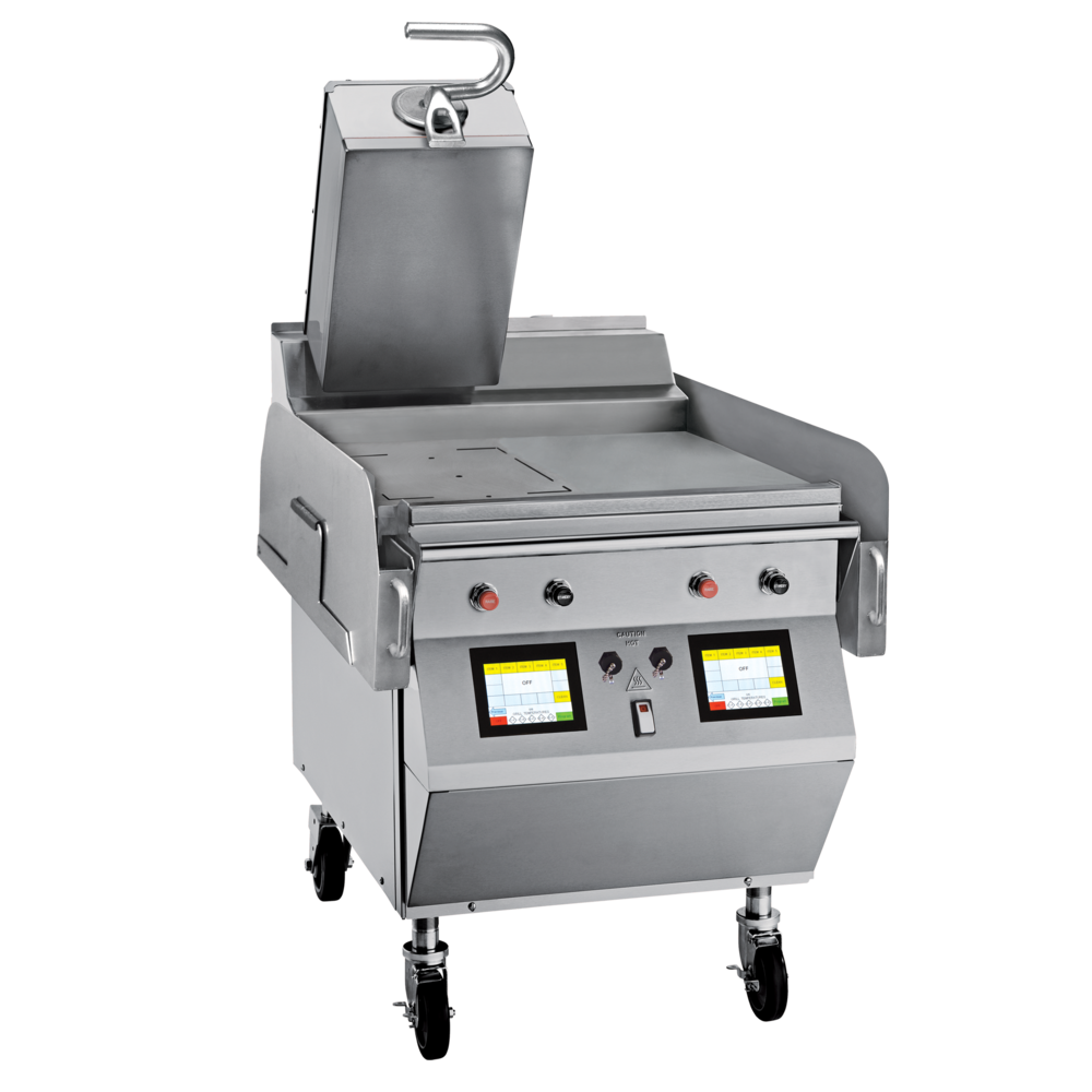 "Model L821 Gas 1 Platen 24"" Grill One touch menu selection automatically provides accurate TIME, TEMPERATURE and GAP settings for every product. KEY SPECIFICATIONS: Lower Cooking Surface Heat Source: Gas Upper Platen Heat Source: Electric Cooking Surface Dimensions: 24"" Installation: Floor Model Upper Platens: 1"