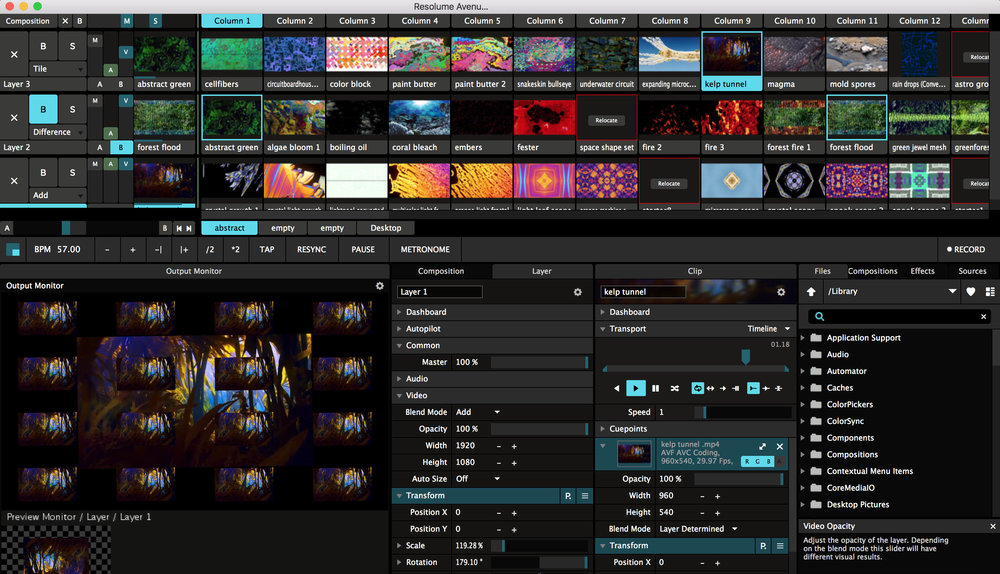 Options to edit each individual clip as well as the composition as a whole are present underneath the deck (featured at the top). Theres also an effects library to the far bottom right, which can be applied in the clip editor window. here you can edit the size, speed, rotation, and opacity of your clip, as well as the parameters of the applied effects.