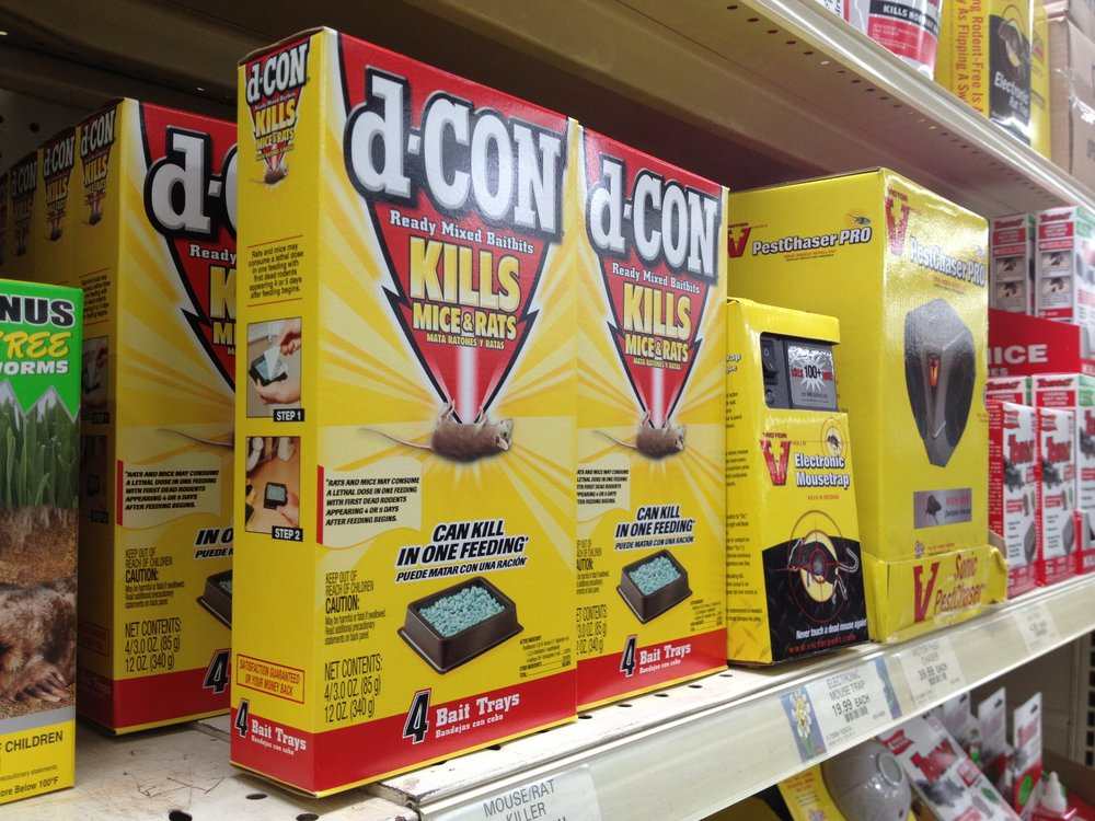 d-Con - One of the most common store-bought rodenticides
