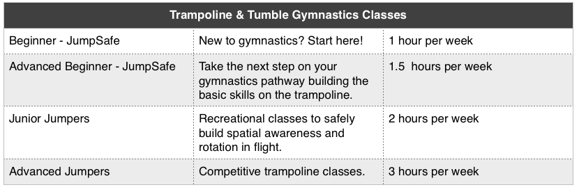 Trampoline and Tumble Classes