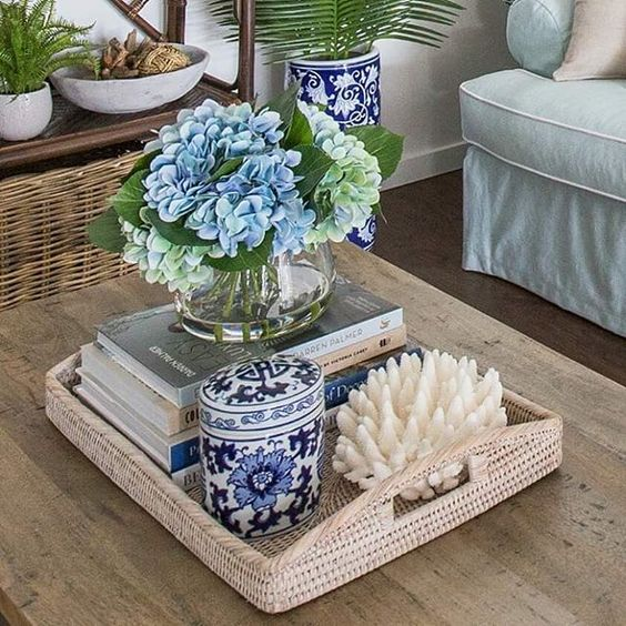 A Tray  - Keeps all the decor centered.