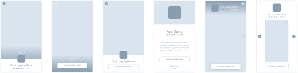 Initial wireframes with different layout & UX variations.