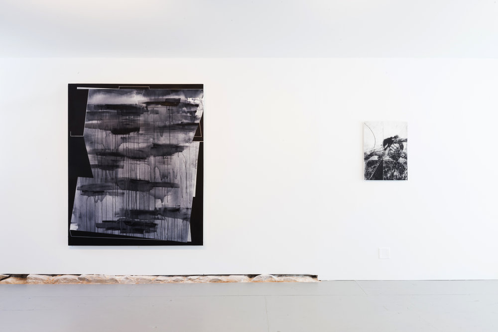 "Left: Torkwase Dyson. ""Value and Resources (Water Table #10),"" 2017. 72"" x 60"" Right: Harold Mendez. ""let X stand for the one's unfound (After Proceso Pentágono) II,"" 2016. Ink and toner on paper mounted on sintra. 29.5"" x 19.5"""