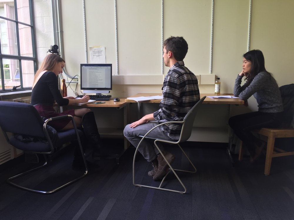 Interview with student tutors at the Public Speaking Center, University of Washington.