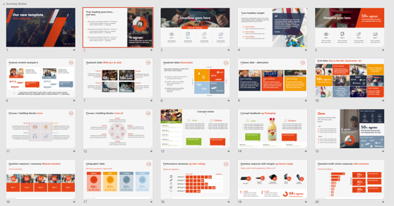 Just 20 slides from our library of over 100 bespoke slide designs