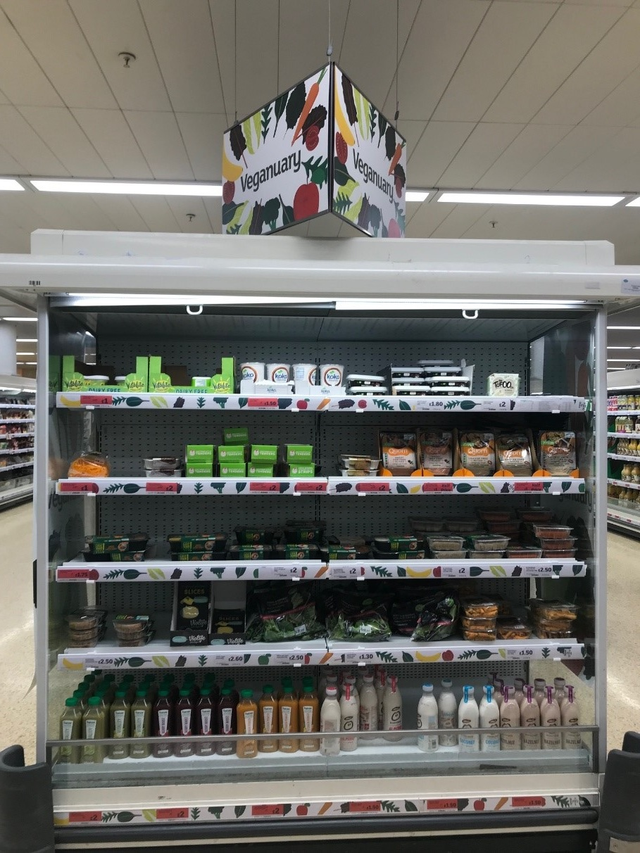 Caption: the Sainsbury's Veganuary gondola end is a simple and effective solution to housing and highlighting exciting Vegan products in store.