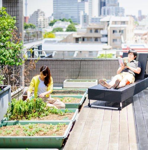Sugamo share house rooftop Tokyo Japan