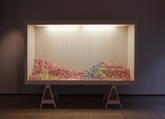 STOCK V ,  2015 / Finnish Institute, Paris. LES MAINS DANS L´ARGILE Exhibition   (   W380 D100 H300 cm)  Stained porcelain, spruce, fabric, electric components for lighting