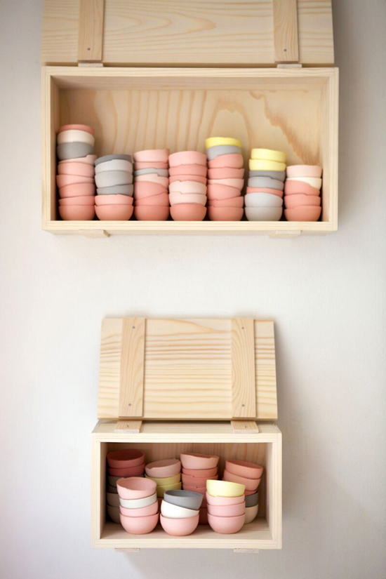 STOCK II and STOCK III , 2014 /  Lokal Helsinki, Pink Exhibition  (W 30 D 15 H 40 cm) (down) , ( W 40 D 15 H 35 cm ) (up)  Stained porcelain & spruce Photo by Katja Hagelstam