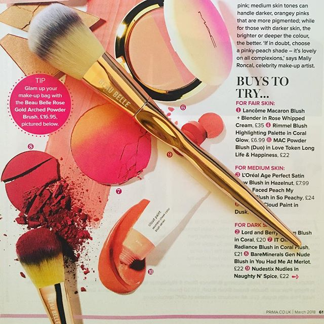 Pretty blushers need pretty brushes - like this rose gold one from Beau Belle in @primamag 💛