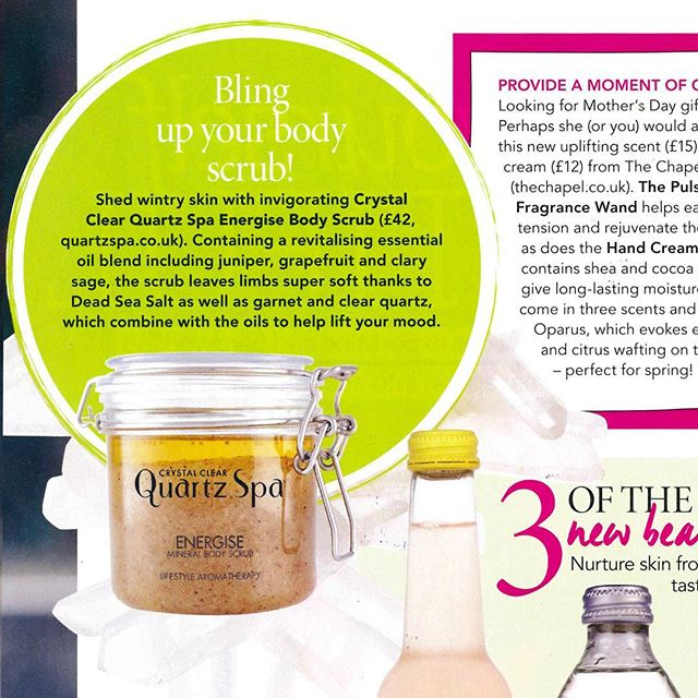 SNOW much for spring! Whatever the weather, we're getting ready for March tomorrow with Crystal Clear Quartz Spa Energise Mineral Body Scrub - as seen in the new issue of @topsanteuk