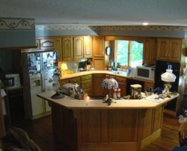 To put it all in perspective, this is what my kitchen looked like when we first saw the house and decided to buy it. Sorry for the worthless photo quality.