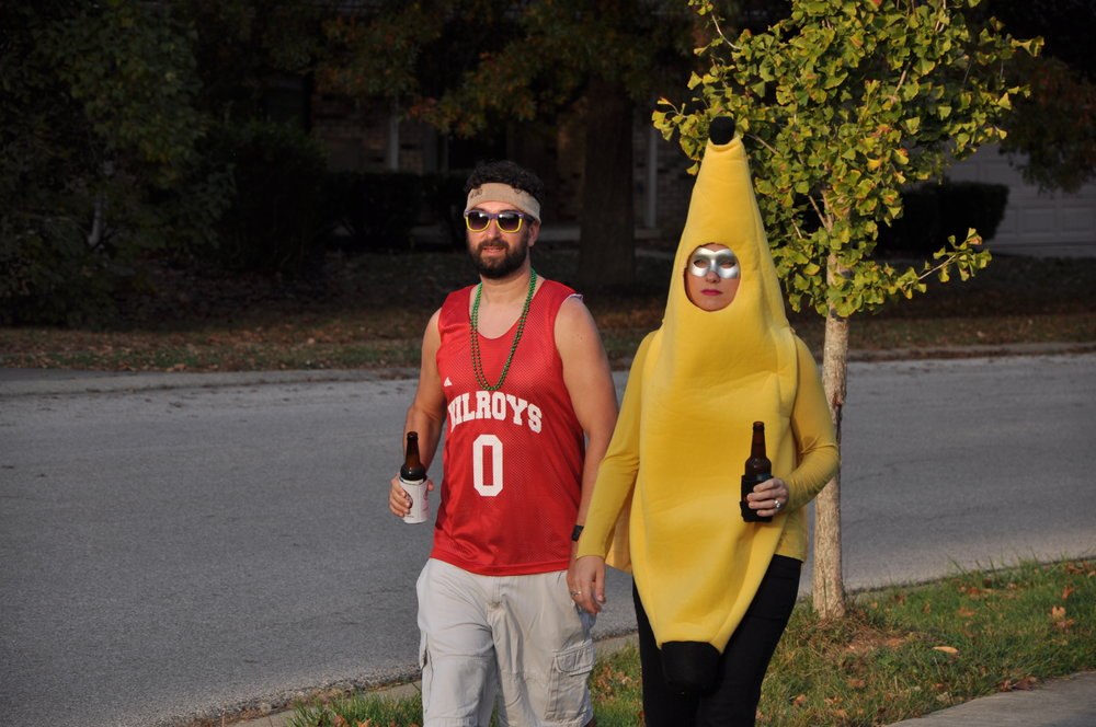 Last year I re-purposed my sons old banana costume, added a cape and a mask and went as Captain Banana. It was a riot!
