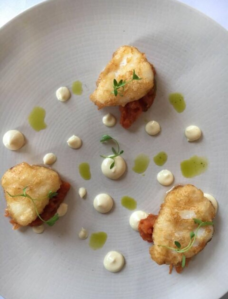 tempura monkfish with roast heirloom tomato and cumin curry aioli