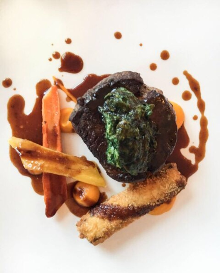 filet of beef with cheek beignet, carrot and buttermilk puree, salt baked carrot, curly parsley and shallot
