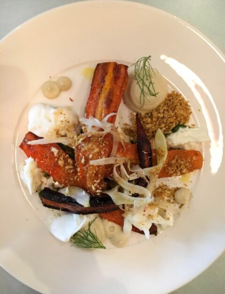 roast carrots, macroom buffalo mozzarella, burnt aubergine, honey, pickled fennel, ras-el-hanout crumb