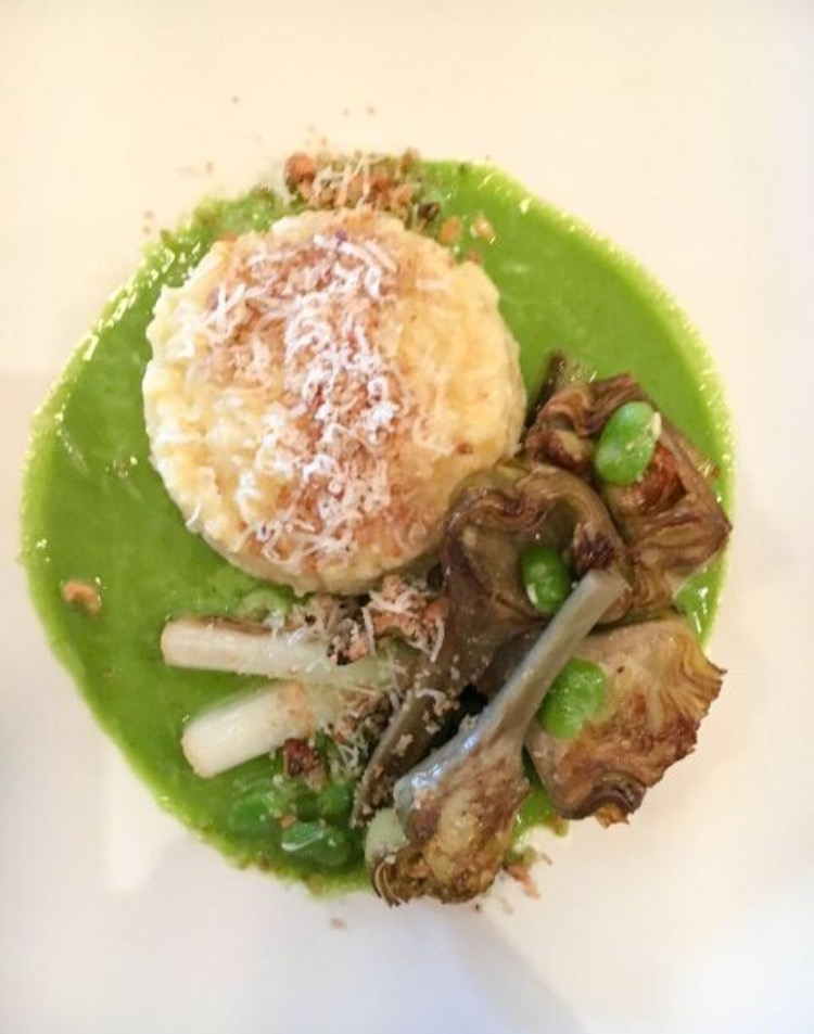 confit artichokes, broad beans & scallion with lemon risotto, parsley broth, cratloe hills sheep's cheese, hazelnut crumb