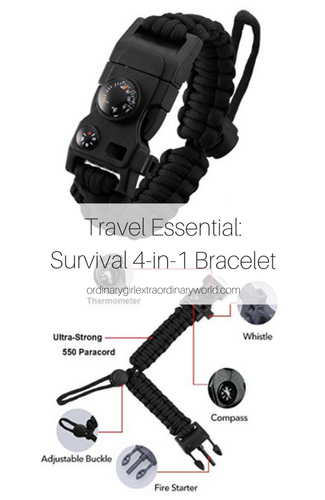 Travel Gadget: This survival bracelet packs a lot of functionality into one small piece. From a thermometer to a fire starter, to a compass and whistle, you'll be happy to have this with you on your next hiking, camping, or other outdoor adventure!