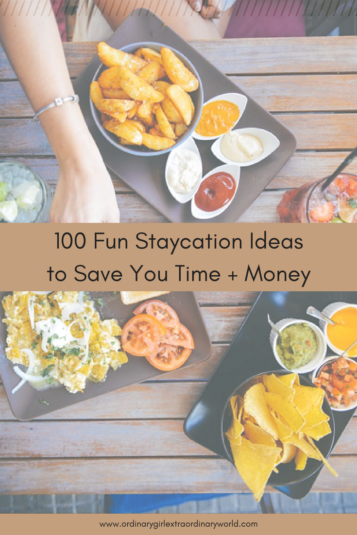 Free Printable: Take a vacation but save on time and money with these 100 fun staycation ideas for singles, couples, families, and everyone in between!