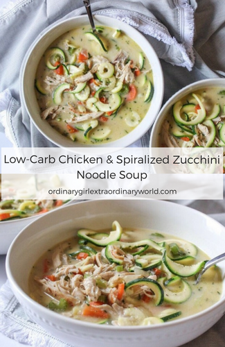 Low-Carb/Keto Chicken and Spiralized Zucchini Noodle Soup