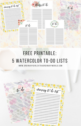 Free Printable's: Watercolor To-Do List Checklists