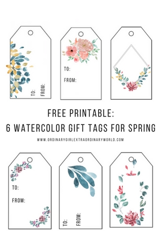 Free printable spring watercolor gift tags ordinary girl free printable 6 watercolor flower gift tags for spring negle Gallery