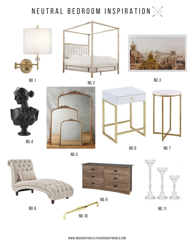Neutral and French inspired bedroom furniture and home decor