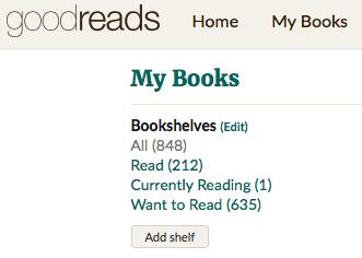 Goodreads reading list