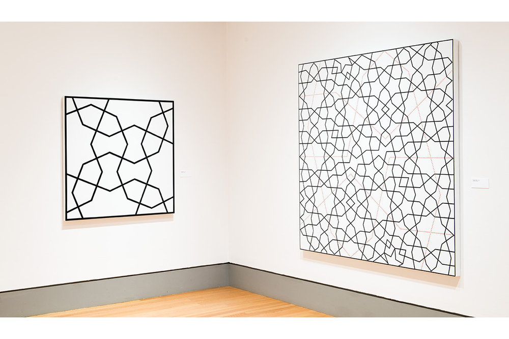 Left: Topkapi VI. 1992. Acrylic on canvas. 48 x 48 in., 121.9 x 121.9 cm.  Right: Topkapi XXI. 2012. Acrylic on canvas. 72 x 72 in., 182.9 x 182.9 cm.