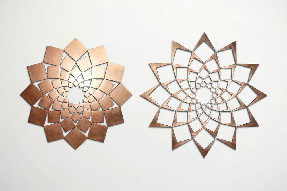 Saida XIX: Copper Leaf   2013. Copper leaf on wood. 42 x 81 in., 106.7 x 205.7 cm.