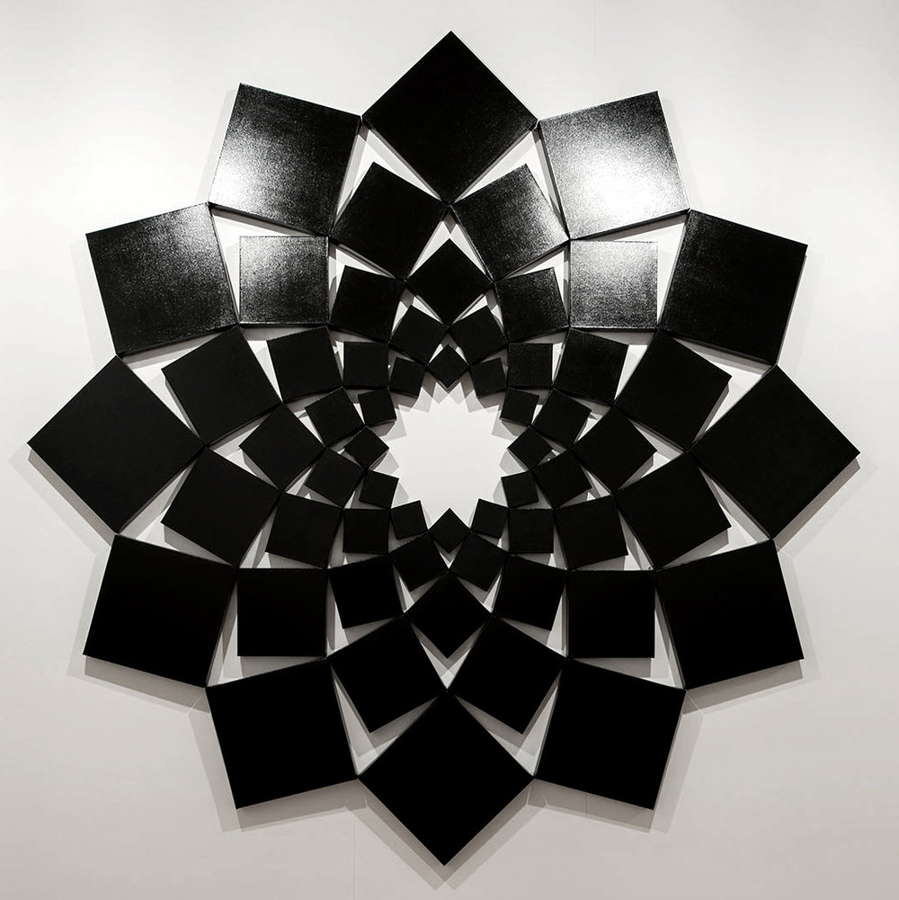 Saida I: Black   1998. Enamel on 60 canvases. 120 x 120 in., 304.8 x 304.8 cm.