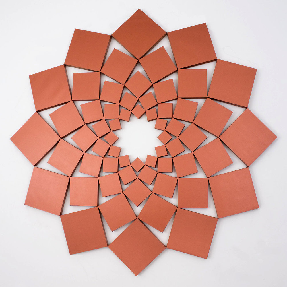 Saida XIII: Iridescent Copper   1998. Acrylic on 60 canvases. 120 x 120 in., 304.8 x 304.8 cm.