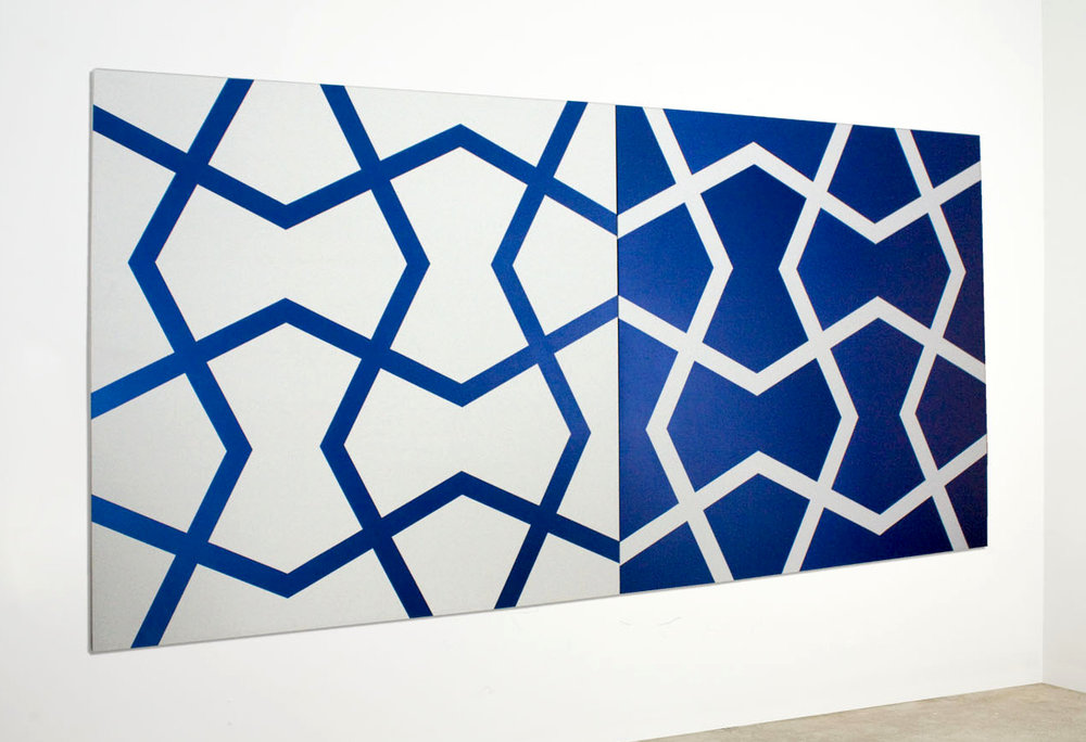 J  ali XXVII: Venetian Blue and White   2011. Acrylic on 2 canvases. 72 x 144 in., 182.9 x 365.8 cm.