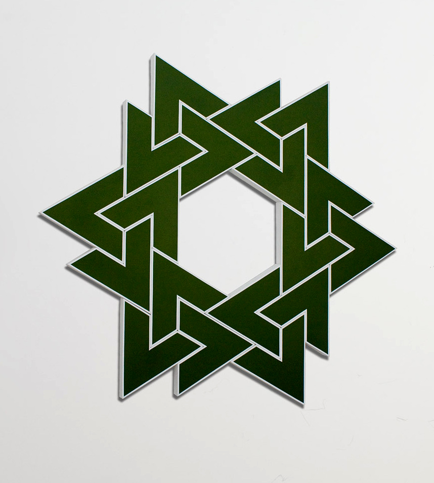 Mizan XIII: Hunter Green   2011. Acrylic on 18 interconnected canvases. 60 x 60 in., 152.4 x 152.4 cm.
