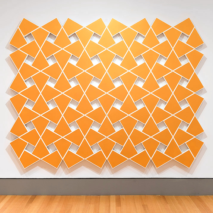 Cyrene XVI: Gold 2011. Acrylic on 110 canvases. 89 x 115 in., 226.1 x 292.1 cm.