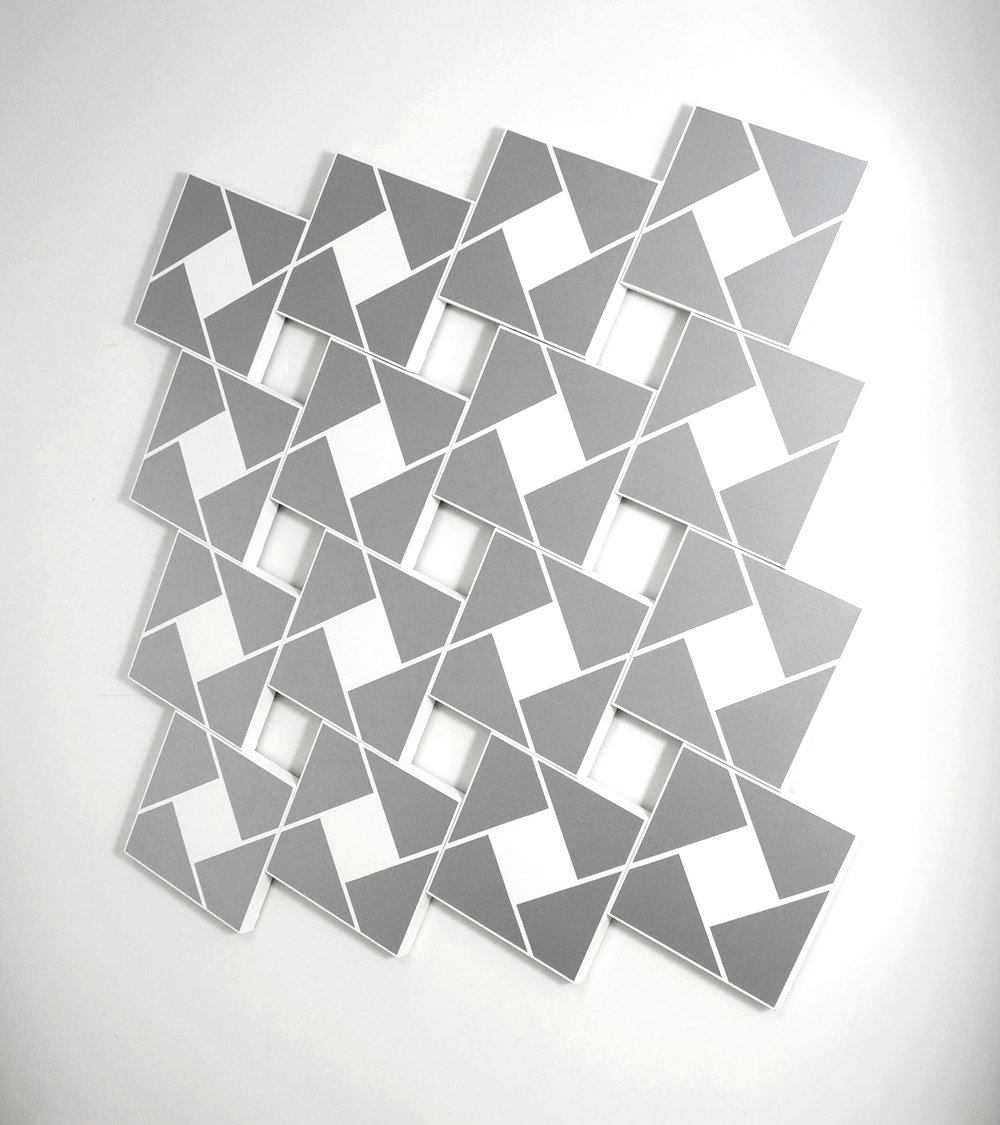 Ajlun VII: Silver   2002. Acrylic on 16 canvases. 80 x 84 in., 203.2 x 213.4 cm.