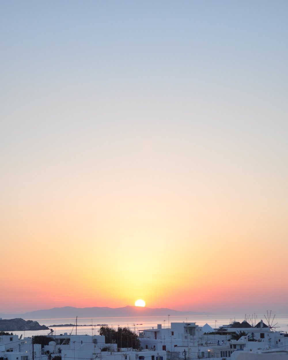 Sunset view from the Belvedere Hotel in Mykonos