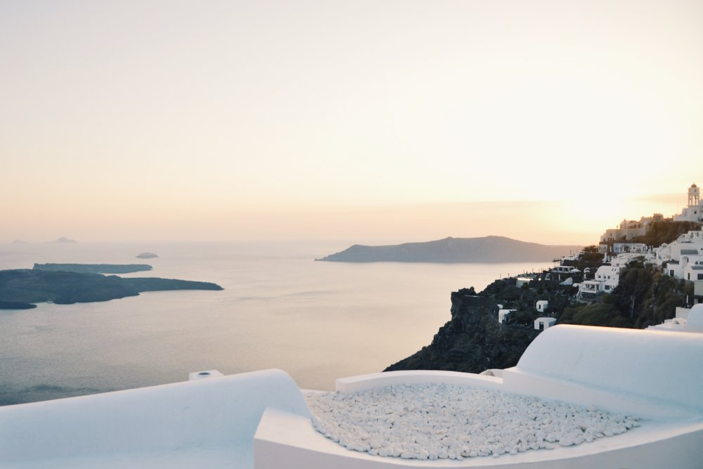 View from Imerovigli, Santorini, Greece.