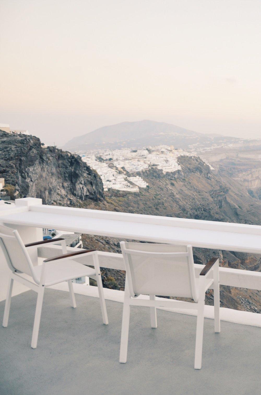View from the balcony at the Aqua Luxury Suites in Imerovigli, Santorini, Greece