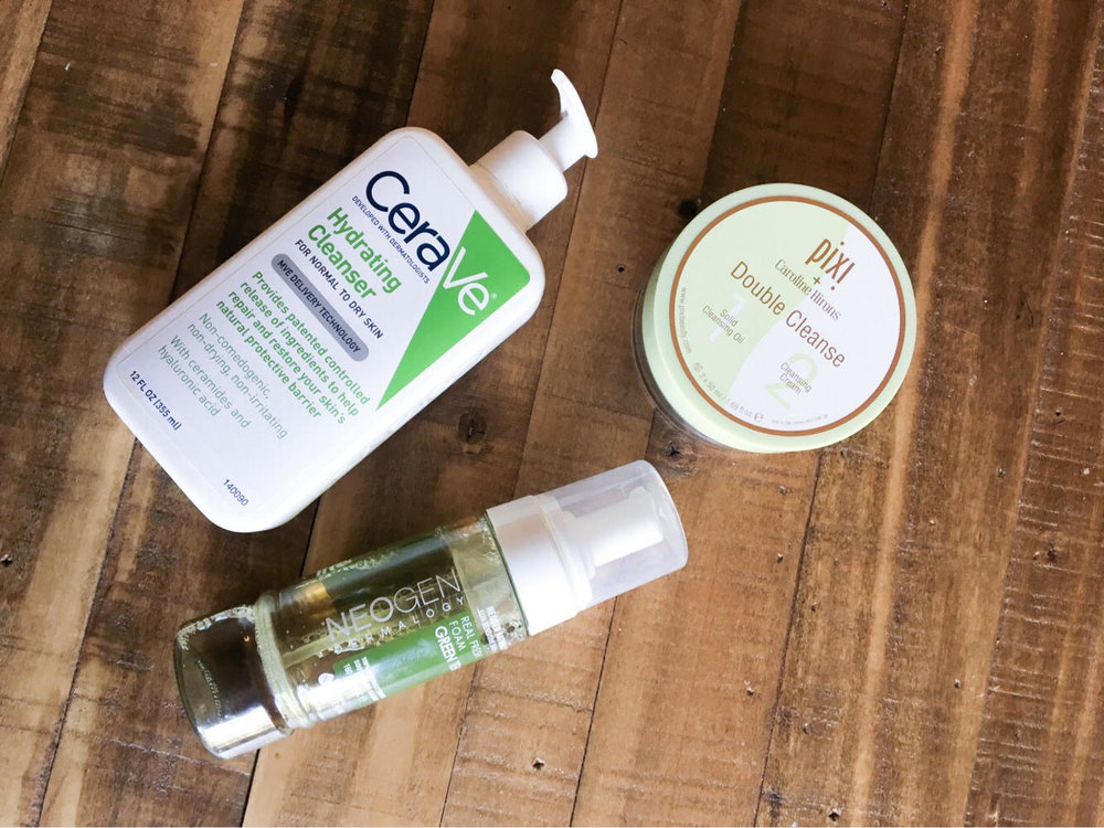 The cleansers that Alex keeps on rotation, clockwise from top: CeraVe Hydrating Cleanser, Pixi Double Cleanse, and Neogen Green Tea Real Fresh Foam Cleanser.