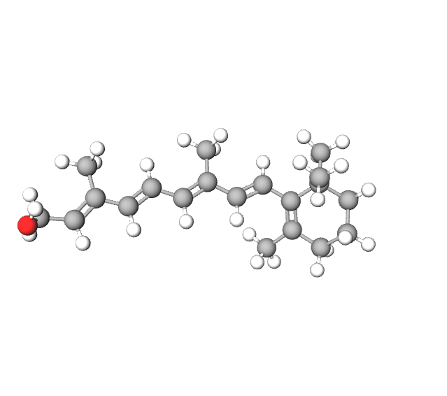 Retinol molecule above. Image courtesy of Molview.org