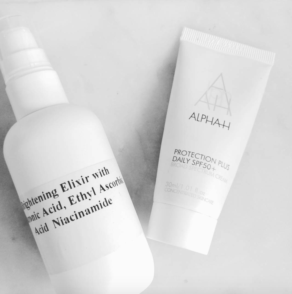 Amina's holy grail SPF, alongside a personal formulation.